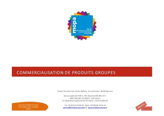 COMMERCIALISATION DE PRODUITS GROUPES                            Emotio Tourisme Sarl, Centre Bellocq, 14 rue Perpère, 641...