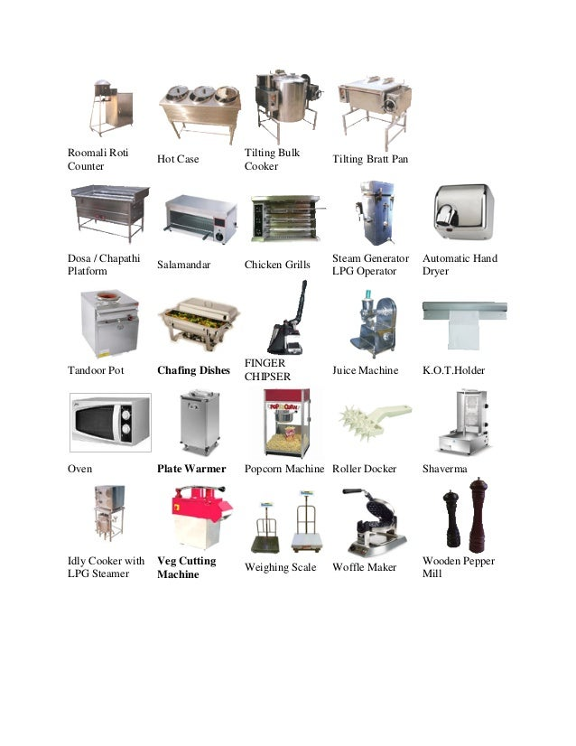 Commercial kitchen equipment in bangalore for Kitchen equipment list