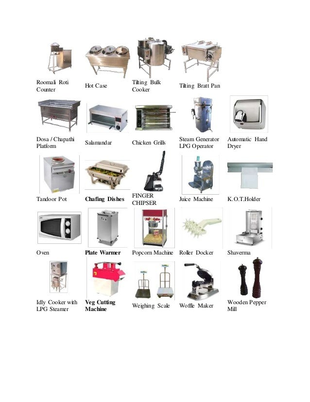 Commercial kitchen equipment in bangalore for Kitchen equipment names