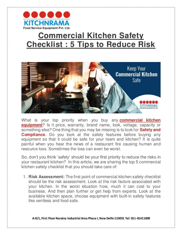 Commercial Kitchen Safety Checklist 5 Tips To Reduce Risk