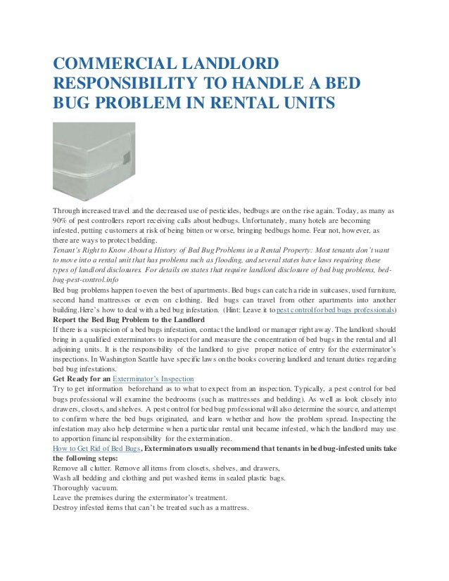 COMMERCIAL LANDLORD RESPONSIBILITY TO HANDLE A BED BUG PROBLEM IN RENTAL  UNITS Through Increased Travel And ...