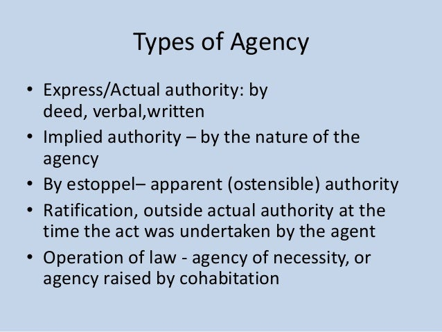 express or implied authority March 2001 agency law and contract formation  actual express authority  2 actual implied authority.