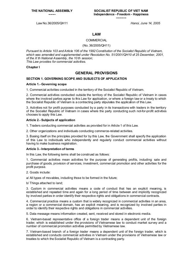vietnam commercial law 2005 Vietnam's forests are rich  (2005) this law establishes the provisions  detailing the implementation of the commercial law regarding international.