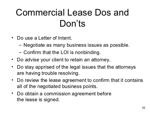 ... Restrictions 34; 35. Commercial Lease ...  Letter Of Intent To Lease Sample