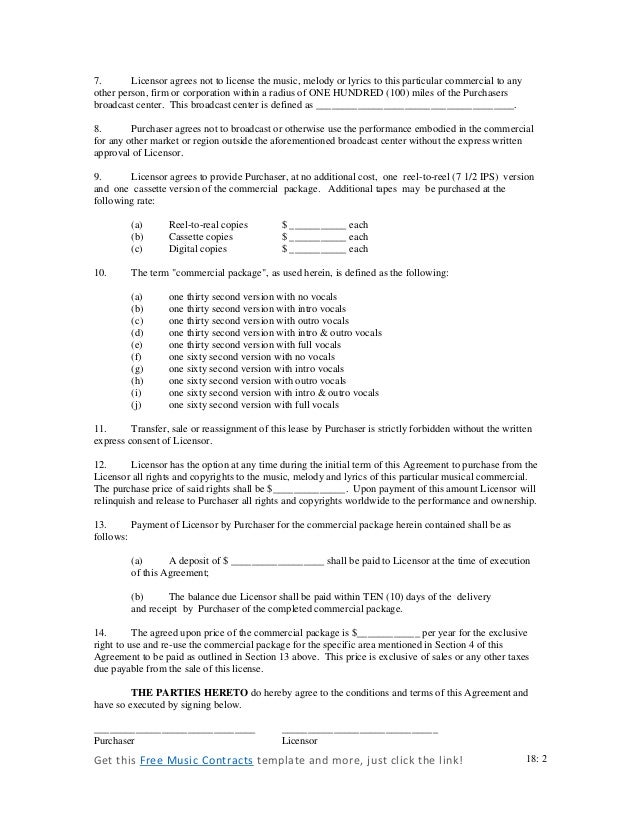 Commercial music contract