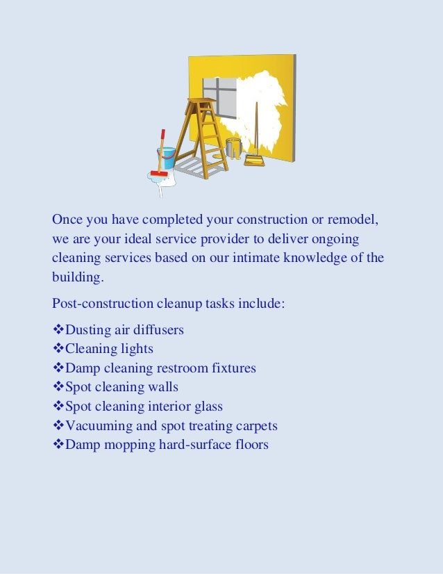 Building Completion Cleaning Services : Commercial office janitorial post construction move in