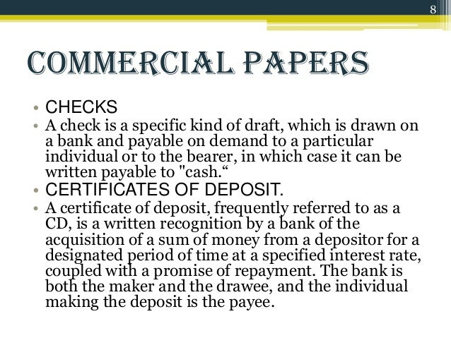 essays on commercial paper Summary of subjects tested preceded by number of essays 12 essay questions: (2) texas real property • oil and gas (2) business associations • agency & partnerships • corporations (2) ucc • ucc 2 & 2a ( contracts & sales—note that this is rarely tested) • ucc 3 & 4 (commercial paper/payment.