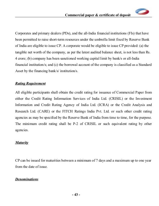Commercial Papers And Certificate Of Deposit