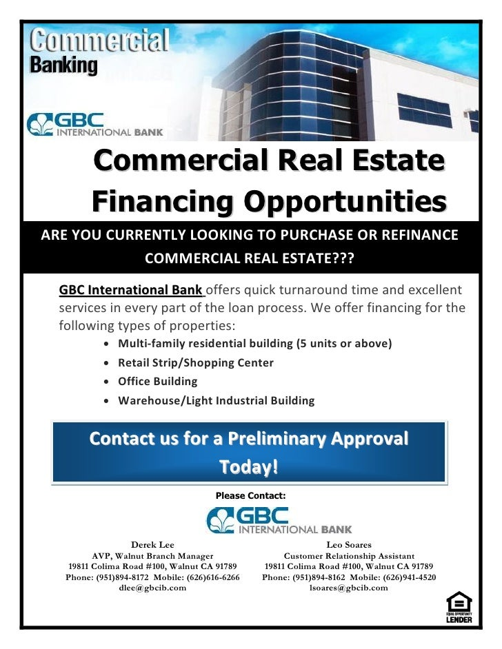 Commercial real estate financing opportunities flyer events flyer for Commercial real estate brochure