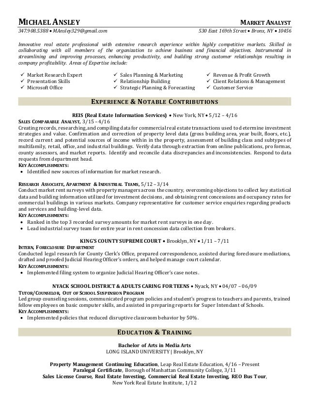 real estate professional resumes
