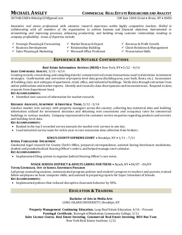 commercial real estate researcher and analyst resume