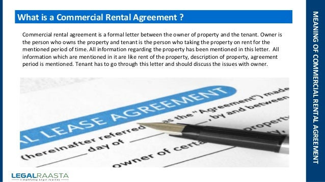 Commercial rental agreement format template Legalraasta