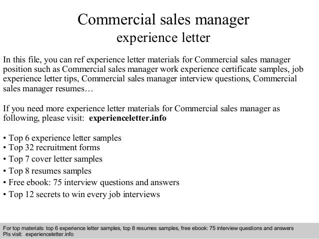 Commercial Sales Manager Experience Letter