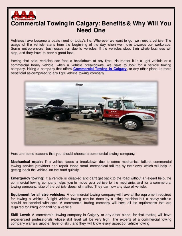 Commercial Tow Truck Calgary
