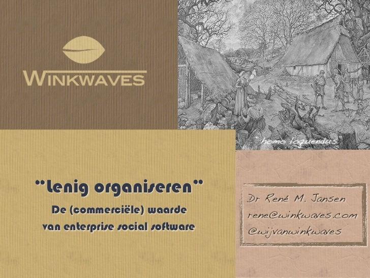 """""""homo loquendus""""""""Lenig organiseren""""              Dr René M. Jansen  De (commerciële) waarde        rene@winkwaves.comvan e..."""