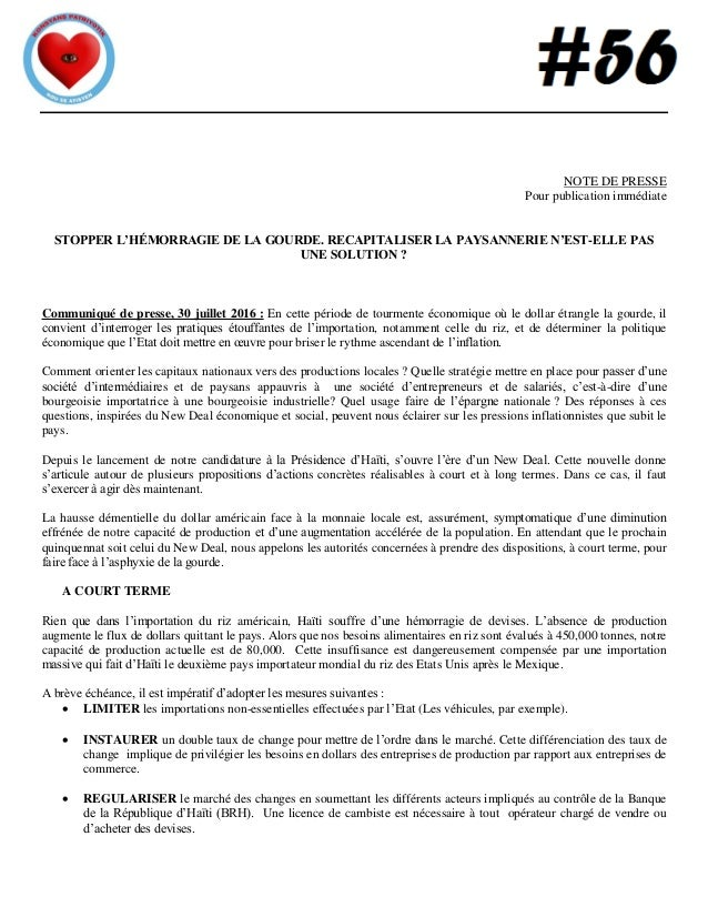 NOTE DE PRESSE Pour publication immédiate STOPPER L'HÉMORRAGIE DE LA GOURDE. RECAPITALISER LA PAYSANNERIE N'EST-ELLE PAS U...