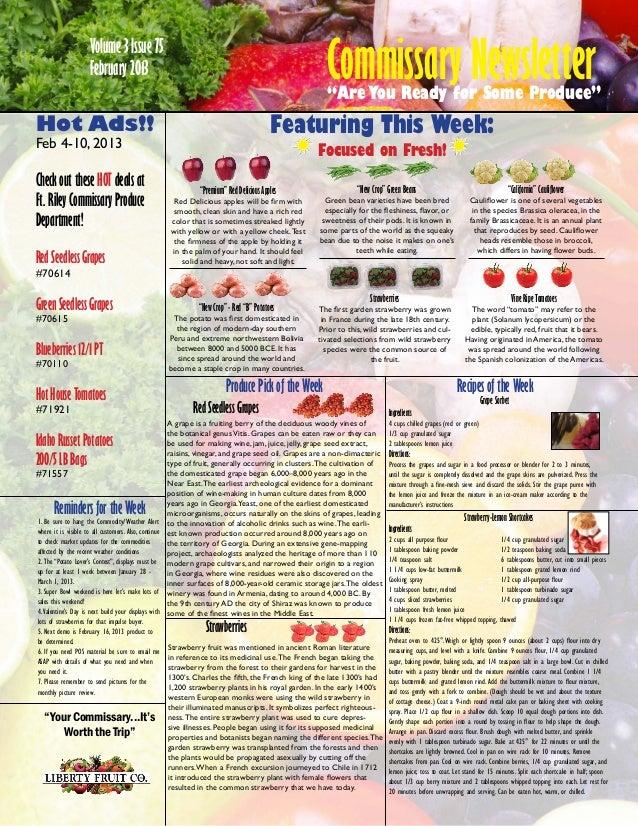 Commissary Newsletter                  Volume 3 Issue 75                  February 2013                                 ...