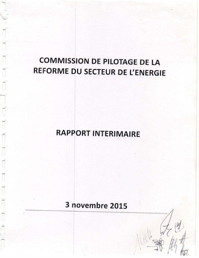 Rapport Commission de pilotage de la réforme du secteur de l'énergie.-
