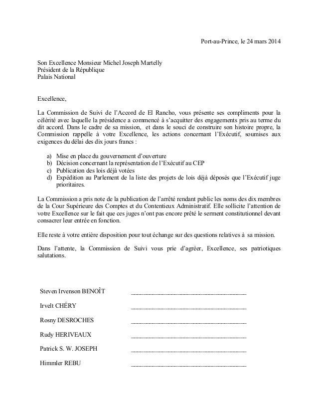 Port-au-Prince, le 24 mars 2014 Son Excellence Monsieur Michel Joseph Martelly Président de la République Palais National ...
