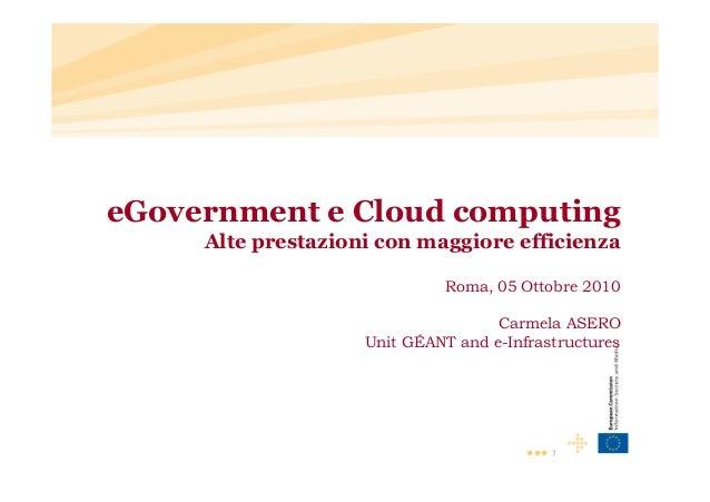 ••• 1 eGovernment e Cloud computing Alte prestazioni con maggiore efficienza Roma, 05 Ottobre 2010 Carmela ASERO Unit GÉAN...