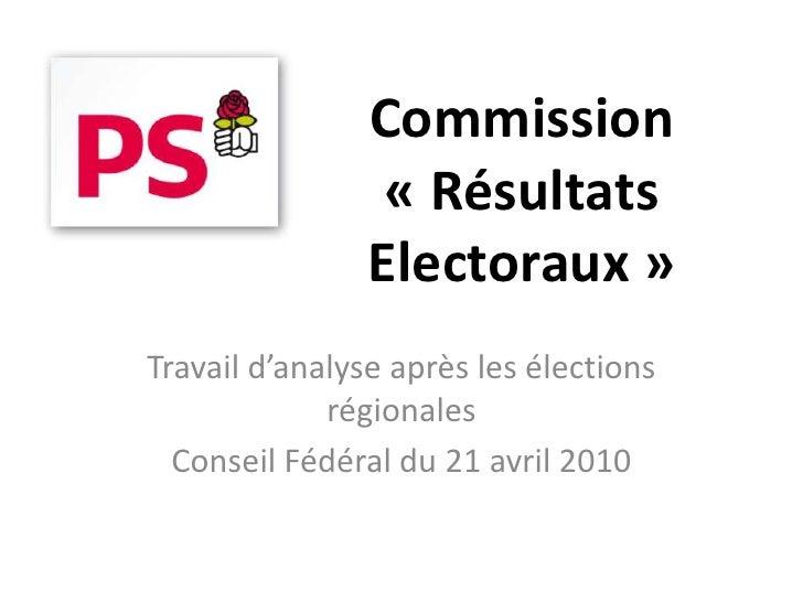 Commission                  « Résultats                 Electoraux » Travail d'analyse après les élections              ré...