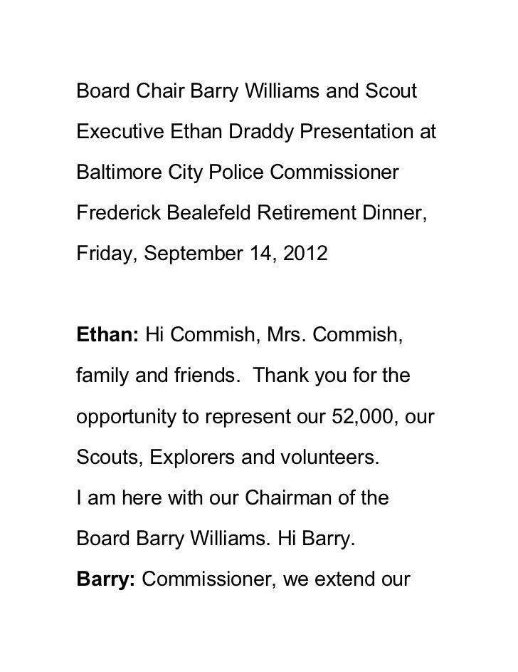 Board Chair Barry Williams and ScoutExecutive Ethan Draddy Presentation atBaltimore City Police CommissionerFrederick Beal...