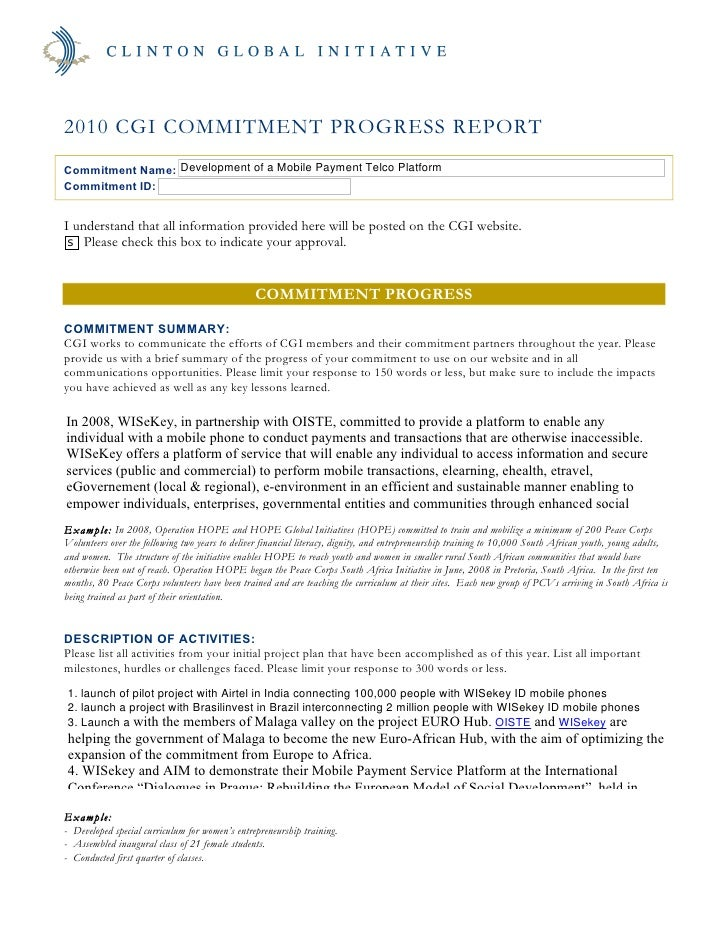 2010 CGI COMMITMENT PROGRESS REPORT Commitment Name: Development of a Mobile Payment Telco Platform Commitment ID:   I und...