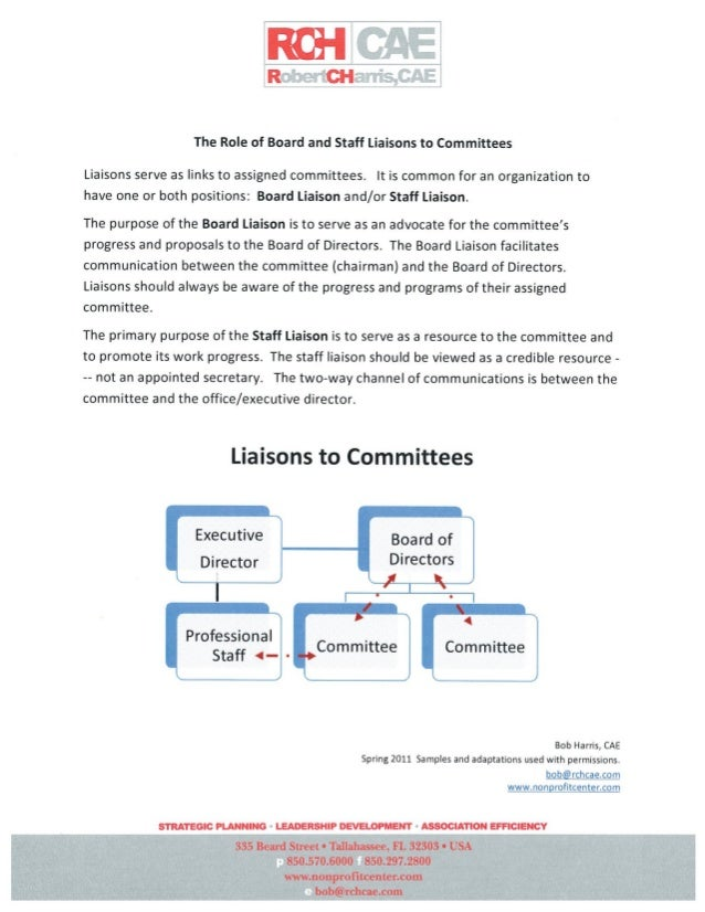 Serving as a Committee LiaisonMembers of the Board shall be assigned to act as a liaison from one committeeto the Board an...