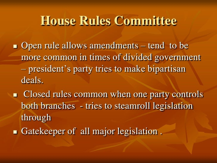 what is the function of the house committee on rules