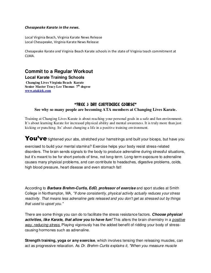 Chesapeake Karate in the news.<br />Local Virginia Beach, Virginia Karate News Release<br />Local Chesapeake, Virginia Kar...