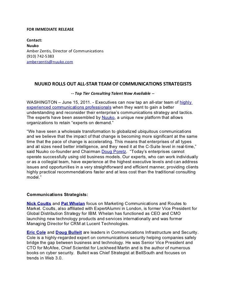 FOR IMMEDIATE RELEASEContact:NuukoAmber Zentis, Director of Communications(910) 742-5383amberzentis@nuuko.com    NUUKO ROL...