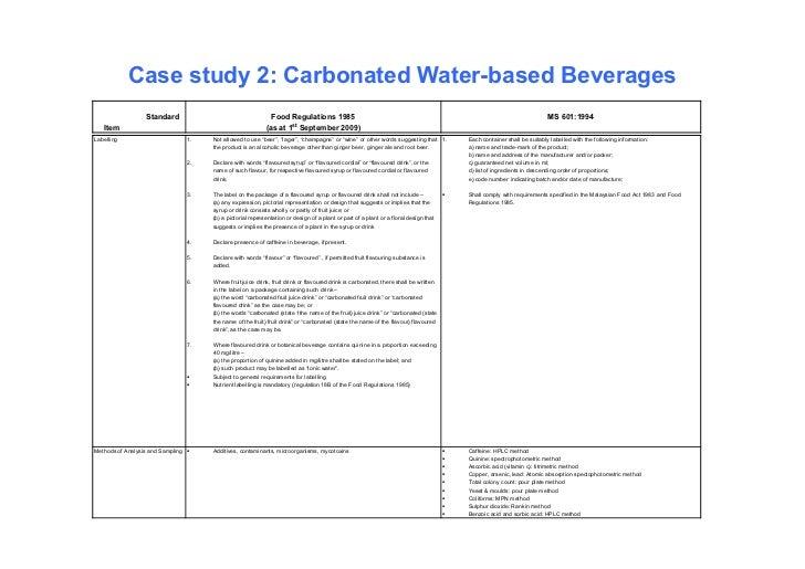 Case study 2: Carbonated Water-based Beverages                  Standard                                    Food Regulatio...