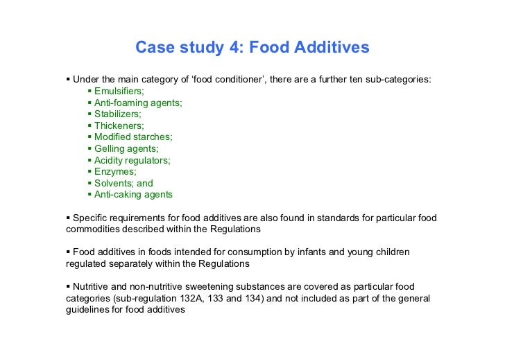 Case study 4: Food Additives Under the main category of 'food conditioner', there are a further ten sub-categories:     ...