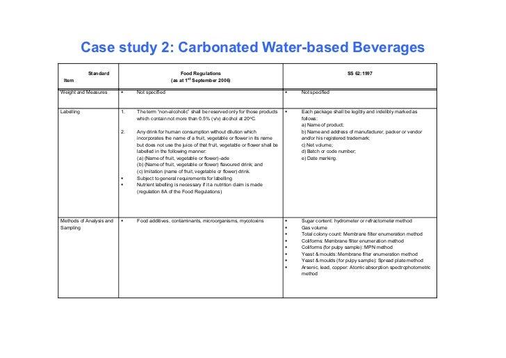 Case study 2: Carbonated Water-based Beverages             Standard                              Food Regulations         ...