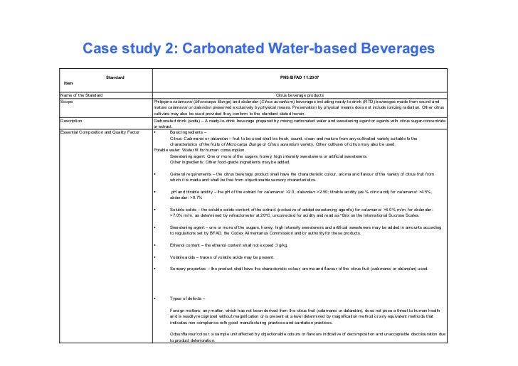 Case study 2: Carbonated Water-based Beverages                       Standard                                             ...