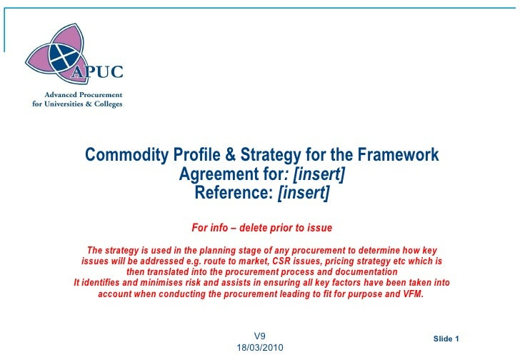 Commodity Profile & Strategy for the Framework             Agreement for: [insert]               Reference: [insert]      ...
