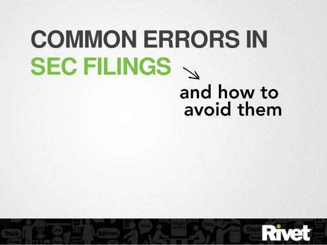 COMMON ERRORS INSEC FILINGS