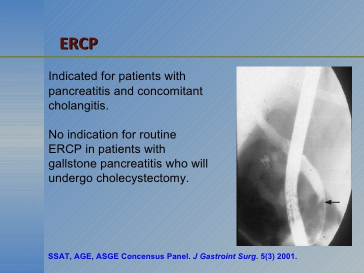 Indicated for patients with  pancreatitis and concomitant cholangitis. No indication for routine ERCP in patients with gal...
