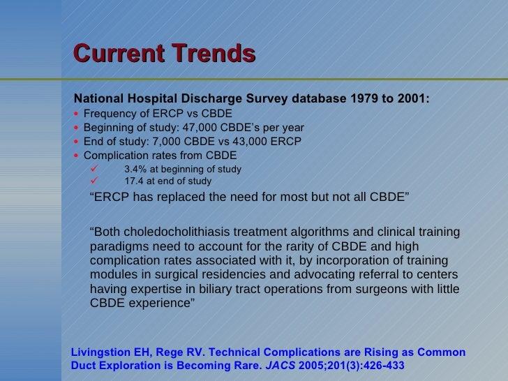 Current Trends <ul><li>National Hospital Discharge Survey database 1979 to 2001: </li></ul><ul><li>Frequency of ERCP vs CB...