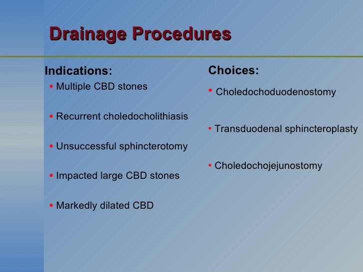 Drainage Procedures <ul><li>Indications: </li></ul><ul><ul><li>Multiple CBD stones </li></ul></ul><ul><ul><li>Recurrent ch...