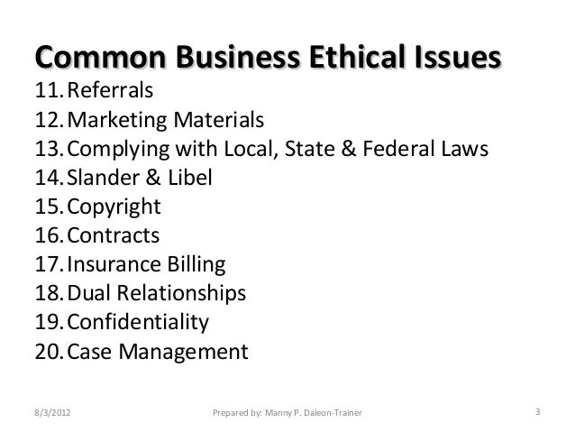 Fundamental Ethical Matters
