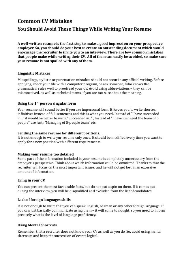 Common CV Mistakes You Should Avoid These Things While Writing Your Resume  A Well Written ...