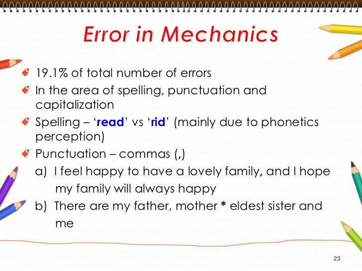 Common Errors In Written English Essays Mother Eldest Sister And Me 23 23  Capitalizationa My