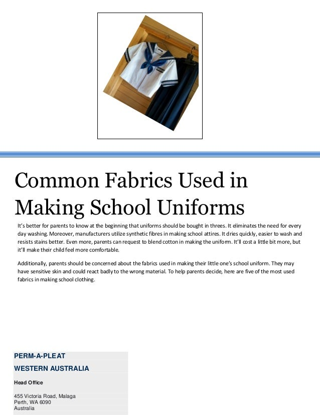 Common fabrics used in making school uniforms
