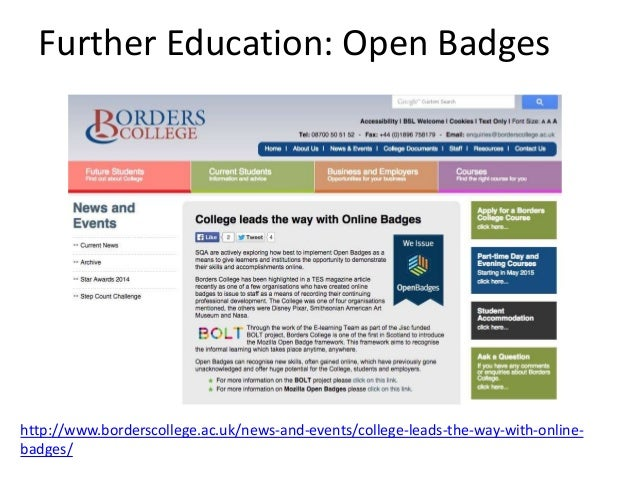 Open Badges in Scottish Education Group http://www.rsc-scotland.org/?page_id=2223