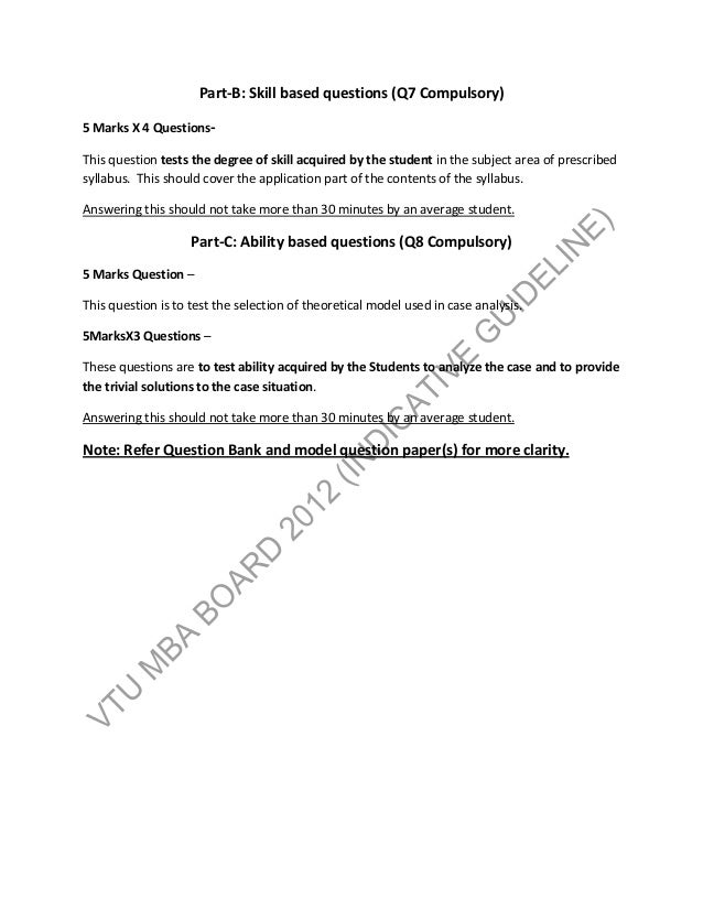 Common guidelines for model question paper pattern first
