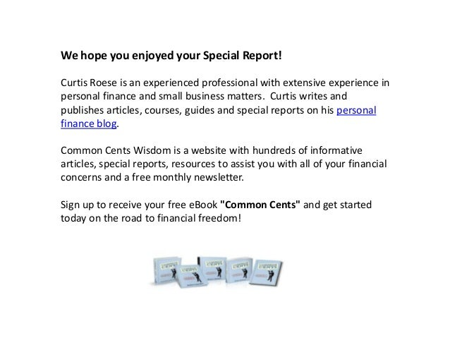 We hope you enjoyed your Special Report! Curtis Roese is an experienced professional with extensive experience in personal...