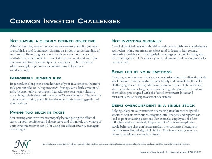 Click to edit Master title styleCommon Investor ChallengesNot having a clearly defined objective                          ...