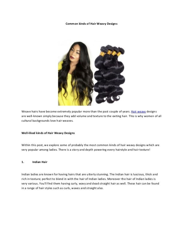 Common Kinds Of Hair Weavy Designs