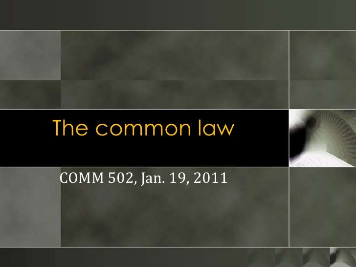 The common law<br />COMM 502, Jan. 19, 2011<br />